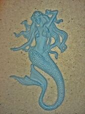 MERMAID Cast Iron WALL SCULPTURE ~ Antiqued Blue ~ Nautical Fantasy