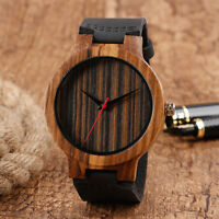 Casual Black Genuine Leather Band Strap Nature Wood Men Women Quartz Wrist Watch