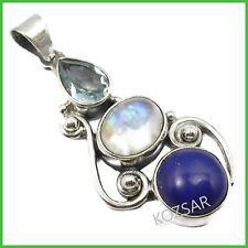 "8MM blue Lapis Lazuli Gemstones Beads Necklace 18/"" /& 20x28mm Pendant"