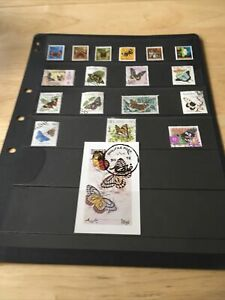 17 Butterfly & Moth Postage Stamps + 1 Label on stock card  - lot 27