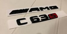 Gloss Black/Red C63s AMG Sticker Decal Emblem Badge Package for C63 C63s