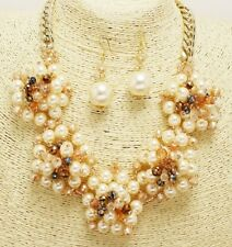 Cream Pearl and Multi Colored Bead Cluster Necklace Set