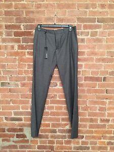 NWT Jil Sander Slim Fit Pants, Wool Cashmere Blend Sz 32 Gray