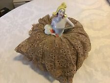 Antique Unusual China Porcelain Flapper Half Doll 1920 Art Deco Lace Pincushion