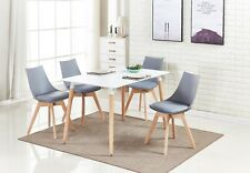 Lanzo Dining Set - 4 x Lanzo Padded Dining Chairs & White Halo Dining Table NEW