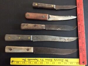 LOT OF 5 Vintage Carbon Steel Kitchen Knives with Wood Handle Unbranded