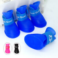 4pcs/lot Pet Dog Rain Shoes Boots Small Medium Waterproof Rubber Dog Booties