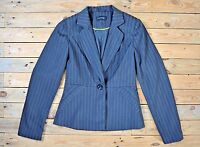 Women's Elegant Fitted Grey Pinstripe Button City Blazer Suit Jacket UK Size 8