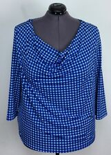 Michael Kors 2X Blue Blk Wht Stretch Circles Dot Cowl Neck Top Blouse Shirt Plus