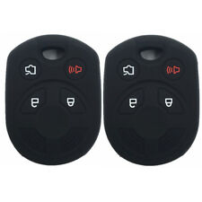 A Pair Black 4 Buttons Rubber Silicone Key Cover Fob Holder Key fit for Ford Key