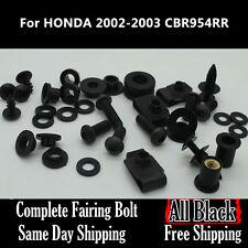 NT Complete Black Fairing Bolt Kit Body Screw for HONDA 2002 2003 CBR 954RR Ta11