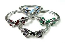 925 Silver Plated Turquoise, Pearl, Malachite & Ruby Gems Adjustable Bangle Cuff