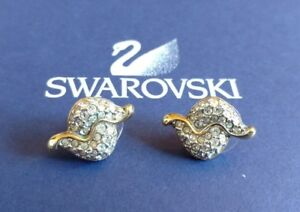 SWAROVSKI marked STUD EARINGS DIAMOND CRYSTAL Zirconia GOLD Snake Vintage Signed