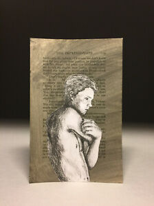 Drypoint etching engraving collage male nude figure