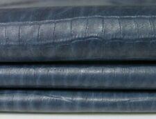 NATURAL BLUE CROCODILE TEXTURED EMBOSSED Lambskin leather 2 skins 16sqf 0.6mm