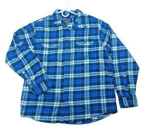 Orvis Men's Long Sleeve Plaid Button Up Shirt Checkers XL Blue White