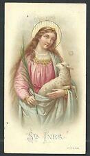 Holy card antique de Santa Ines santino image pieuse estampa