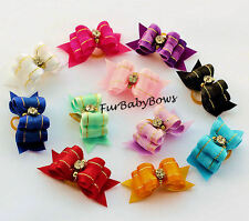 """10 7/8""""  Crystal Show Bows YORKIE  Shih Tzu Puppy  bows Clips Pet Maltese"""