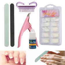 100PCS Nail Art Set False Fake Acrylic French Nail Tips Glue Cutter Brush Tool