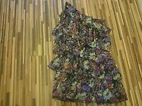 NEW LADIES MADAM RAGE SIZE 8 ONE SHOULDER FLORAL FRILLED DRESS
