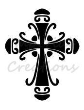 """Cross"" Religious Fancy Detail 8.5"" x 11"" Stencil Plastic Sheet New S28"