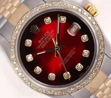 Rolex Datejust Two Tone 36mm Watch-18k Diamond Bezel-Red Vignette Diamond Dial