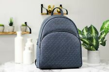 Michael Kors Large Abbey Signature Admiral Blue PVC Backpack Bag