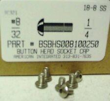 #8-32x1/4 Button Head Hex Socket Cap Screws Stainless Steel (50)