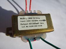 220v primary 6v secondary 300ma power transformer NEW!