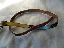 NWT Fossil Bright Multi Colorblock Jean Leather Belt BT4043 997 Large