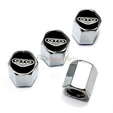 (4) Pontiac GTO Black Logo Chrome ABS Tire/Wheel Air Stem Valve CAPS Covers