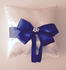 "Handmade Ring Bearer8"" Pillow Royal  Blue Ribbon Pearls Wedding"