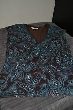 Ladies New Look Brown and Green Paisley pattern t-shirt size 8