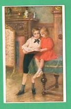 """1915 KARL FROSCHL ART POSTCARD """"BROTHER AND SISTER"""" TABLE FIREPLACE/SCREEN"""