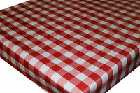 Wipe Clean PVC Tablecloth Oilcloth Vinyl Fabric - Red Gingham Check