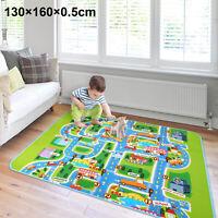 130x160cm Children's Road Map Kids Play Mat Race Car Rug Runner Nursery Home UK