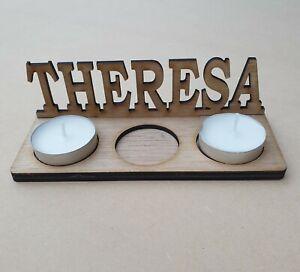 Personalised Tea Light Candle Holder Any Name Gift Bespoke