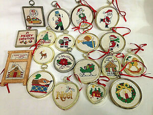 Vintage Lot of 19 HANDMADE Christmas Needlepoint Cross Stitch Ornaments w Frames