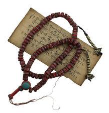 Collier Mala tibetain perles avec inscrustation turquoise et corail Ø13mm - 2006