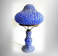 Millefiori vintage art glass lamp in blue floral design