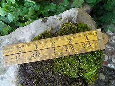 Ancien mètre de mesure à système dépliable en quatre 60 cm, Anglais