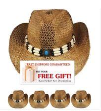 COWBOY HAT STRAW MEN WOMEN Western HAT Cowgirl brown Cap Valentines Gift