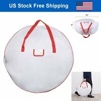 "Xmas Wreath Storage Bag Doulbe Sleek Zipper 25"" Decoration Container Case White"