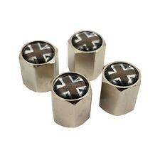 Set of 4 Monochrome Union Jack Metal Wheel Tyre Air Dust Valve Caps TVC103