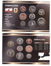 Gibraltar set 8 coins 1 2 5 10 20 50 P 1 2 Pound 1995-2016 UNC in cardboard box