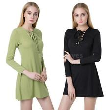 Plus Size V Neck Casual Shirt Dresses for Women