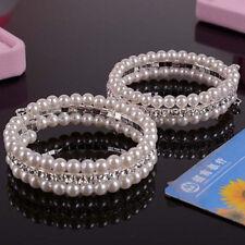 Popular 2 Rows White Faux Pearls Rhinestone Stretch For Women Bangle Bracelet
