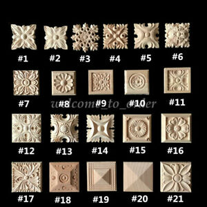 Wood Carved Square Onlay Applique Unpainted Flower Patch Home Furniture Decor