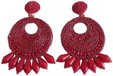 Kenneth Jay Lane Berry Red Beaded Gypsy Bohemian Style Pierced Earrings
