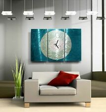 Large Aqua Blue & Silver Wall Clock - Contemporary Metal Wall Art by Jon Allen
